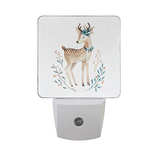 Naanle Set Of 2 Cute Baby Deer Animal Floral Flower Auto Sensor LED Dusk To Dawn Night Light Plug In Indoor for Adults by Naanle