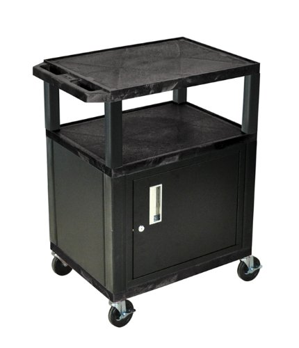 H WILSON WT34C2E 3-Shelf AV Cart with Cabinet, Tuffy, Black ()