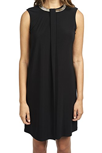 Joseph Ribkoff Black Overlay A-Line Dress with Silver Neck Accent Style 173012 - Size 10