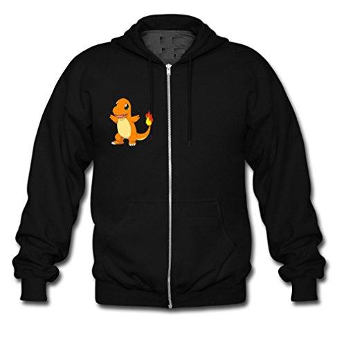 HJGBEDS Mens Japan Anime Pokemon Fire Dragon Gildan Zipper Hoodie Medium Black