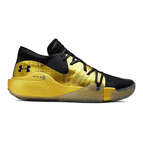 Under Armour Men's Spawn Low Basketball Shoe, Black (003)/Metallic Gold, 8.5 M US