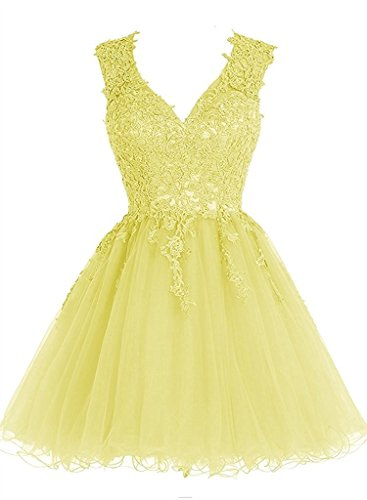 V Dress Homecoming Prom Appliques Dresses Short Dress Tulle Lace Cocktail Yellow Neck Homecoming JAEDEN Dress S7w5qvda