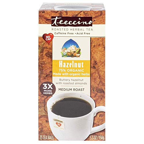 (Teeccino Herbal Coffee, Hazelnut, Caffeine-Free, 25-Count Tea Bag)