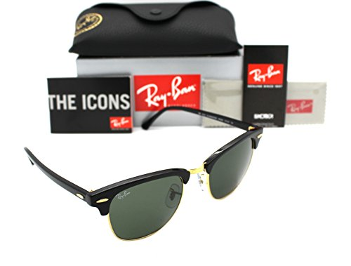 Ray-Ban Authentic Clubmaster RB 3016 W0365 51mm Ebony / Natural Green - 3016 Rb Clubmaster