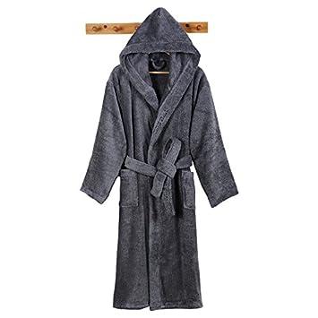 MangeooStar Hotel ms. Mann winter Baumwolle Frottee Kapuzen saugfähigen verdickte Bademantel Nachthemd, M, Kragen bestickt mit Kapuze Bademantel (Beige)