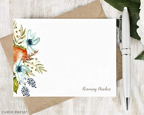 FRUIT BLOOMS - Personalized Flat Floral Stationery/Stationary -