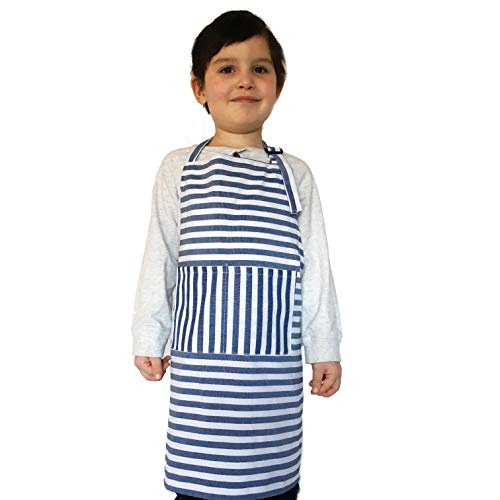 Dapper&Doll Kids Apron for Cooking and Dress Up Clothes - Kitchen Baking Toy Gifts for Girls, Boys, Toddlers (Blue -
