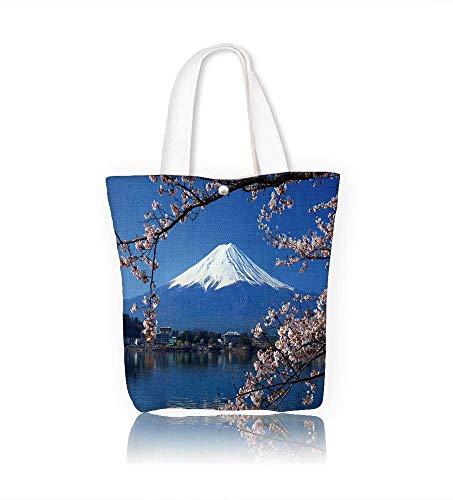 Reusable Cotton Canvas Zipper bag Snow mountain Tote Laptop Beach Handbags W15xH14xD4.7 INCH ()