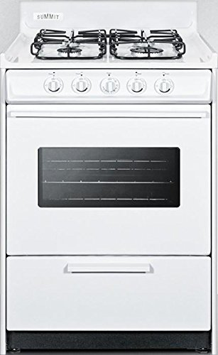 WTM6107SW 24 Gas Range with 4 Sealed Burners 2.92 cu. ft. Oven Capacity Broiler Compartment Porcelain Construction Electronic Ignition and Oven Viewing Window in White by Summit