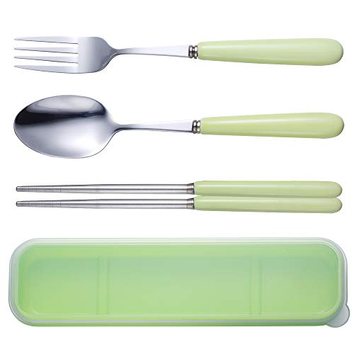 Reusable Flatware Set ,Ccinny 3PCS Stainless Steel Ceramics (Fork, Spoon, Chopsticks) Portable Travel Utensil Set for Travel/Camping, Office Lunch With Carry Box (Green)