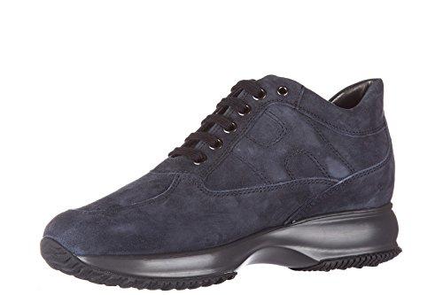 Hogan chaussures baskets sneakers femme en daim interactive allacciata blu