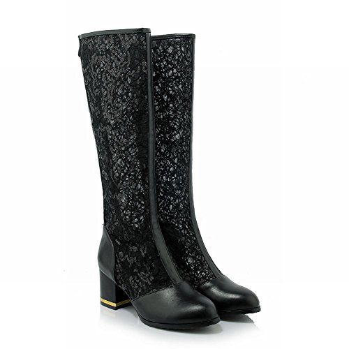 Charm Foot Spring Moda Cremallera De Encaje Chunky Heel Knee High Botas Negro