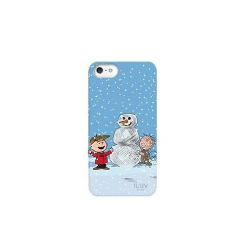 iLuv iCA7H387 Peanuts Graphic Case for iPhone 5 (Charlie Brown with Snowman and Pal) - 1 Pack - Retail Packaging - Blue