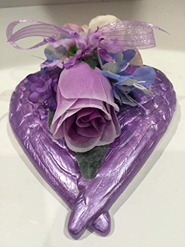 ANGEL WINGS WALL/TABLE ARRANGEMENT 2 - METALLIC LAVENDER PURPLE - MIXED FLORAL - UNIQUE - ONE OF A KIND - VALENTINES DAY - JUST BECAUSE - I LOVE YOU - - Flowers Arrangement Wings Angel
