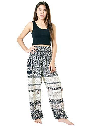 Orient Trail Women's Hippie Elephant Design Palazzo Harem Pants XL Black ()