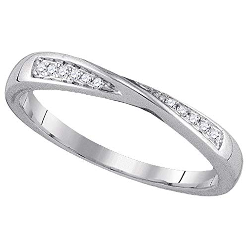 Diamond Band Fashion Ring Right Hand X Design Round Pave Womens Fancy .05ct 14k White Gold