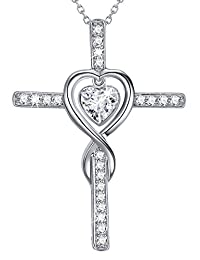 Necklace Sterling Silver Jewelry Birthday Gifts for Mom Women Simulated Diamond Love Heart Cross Necklace