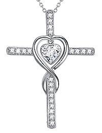 April Birthstone Diamond Sterling Silver Jewelry Mothers Day Birthday Gifts for Mom Women Love Heart Cross Swarovski Necklace