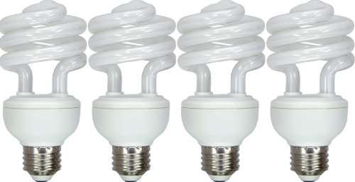 GE Lighting 65672 Energy Smart Spiral CFL 20-Watt (75-watt replacement) 1250-Lumen T3 Spiral Light Bulb with Medium Base, 4-Pack (Energy Smart Spiral)