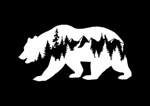 CCI Bear Mountains Adventure Wanderlust Decal Vinyl Sticker|Cars Trucks Vans Walls Laptop|White |7.5 x 3.75 in|CCI1814