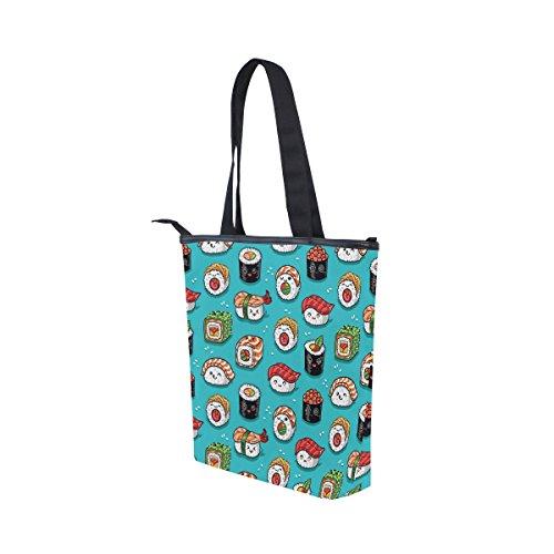 Cute Cartoon Bag Canvas Womens Sushi Emoji Shoulder MyDaily Handbag Tote TPCaqaU