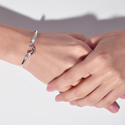 - GUAngqi Women Bracelet Silver Plated Solid Silver Dolphin Clasp Bangle Bracelet