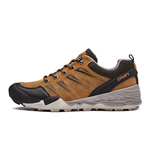 Dannto Men's Hikking Shoes Outdoor Walking Shoes - Suede, Breathable, Long Lasting Safety Waterproof Lightweight Trekking Shoes Khaki-b