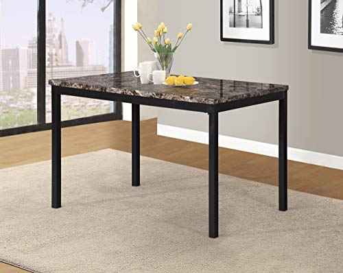 Roundhill Furniture T007 Noyes Metal Dining Table with Laminated Faux Marble ()