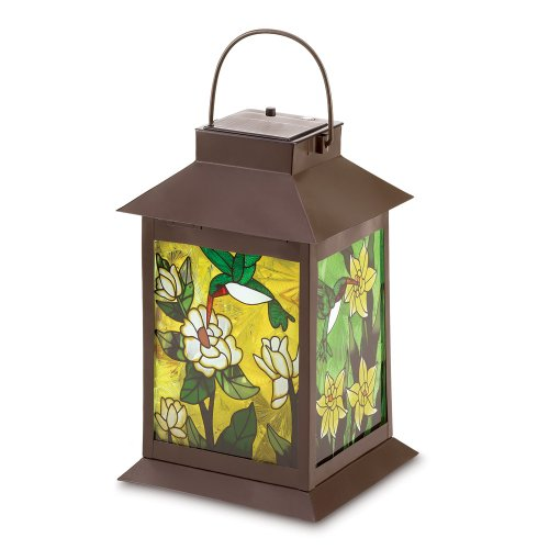 (Gifts & Decor Stained Glass Light Garden Solar-Powered Floral Lantern )
