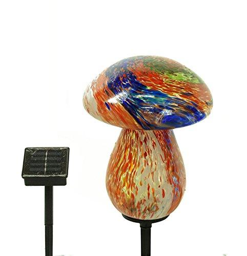 Alpine Solar Glass Mushroom with 10 LED (Glass Ornament Mushroom)
