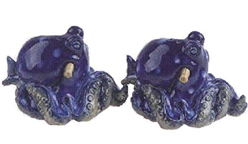 """Blue Sky Clayworks 4 x 3.25 X 2.5"""" Ceramic Octopus Salt and Pepper Shakers"""