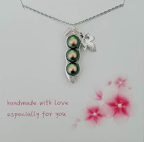Green 3 Peas in a Pod Necklace with Leaf, Swarovski Pearl Peapod Necklace, Birthstone for AUG