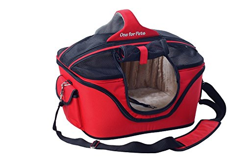 One for Pets Deluxe Cozy Dog Cat Carrier, Large, Red