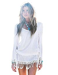 Wowforu Sexy Women Chic Boho White Tassel Hem Long Sleeve Beach Mini Dress