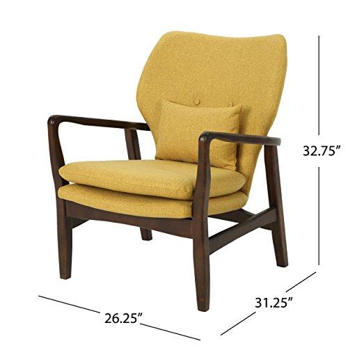 Christopher Knight Home 304780 Ventura Mid Century Modern Fabric Club Chair, Mustard - 8