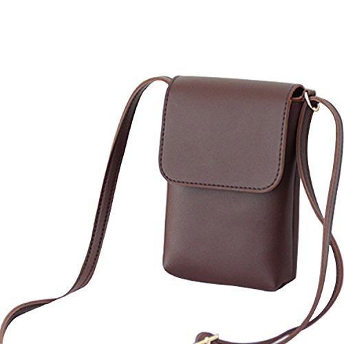Degohome PU Leather Small Crossbody Single Shoulder Bag Cellphone Pouch Wallet Handbag For Women (brown) by Degohome