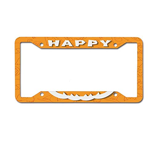 Mrsangelalouise Pumpkin with Evil Face Orange Bird Owl Outline Elements License Plate Frame Aluminum Car License Plate Cover Tag 4 Holes and -