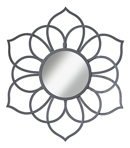 Kate and Laurel Brienne Metal Flower Round Wall Mirror, 24