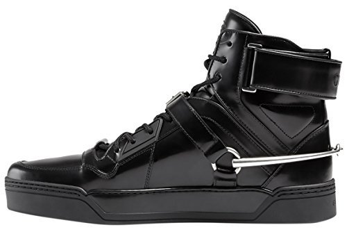 94494f68a22c Galleon - Gucci Men s Black Shiny Leather GG Horsebit High Top Sneakers  Shoes