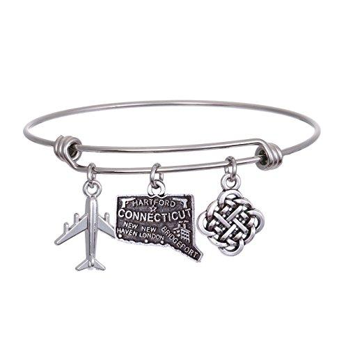 JJTZX State Bangle U.S. Map Charm Expandable Travel Bracelet Long Distance Relationship Gift Best Friends Bracelet (Connecticut)