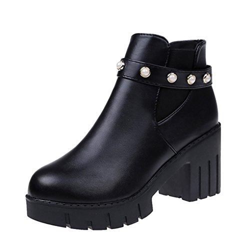 JAZS® automne et hiver Chaussures de femme Talon épais mode Bottes courtes Taiwan étanche Antidérapant Garder au chaud Bottes en cuir Confortable, résistant à l'usure, sexy, doux. ( Couleur : Noir , t Noir