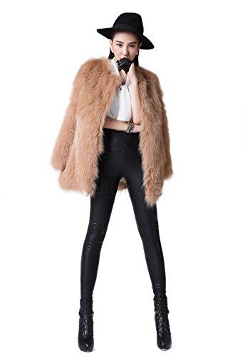 aorui señoras abrigo de invierno Real de piel de zorro chaquetas marrón