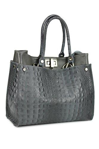 3510659a9153d Echt Leder Handtasche Shopper Kroko Prägung und Glattleder grau 31x25x16 cm  (B