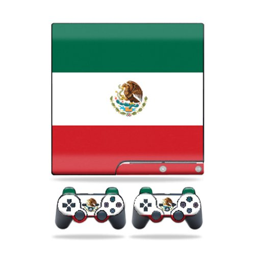 Mightyskins Protective Vinyl Skin Decal Cover for Sony Playstation 3 PS3 Slim skins + 2 Controller skins Sticker Mexican Flag