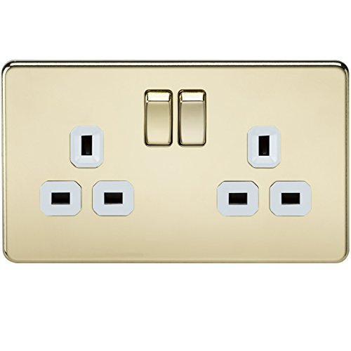 Knightsbridge SF9000PBW 13 A 2-Gang Screwless DP Switched Socket - Polished Brass with White Insert by Knightsbridge