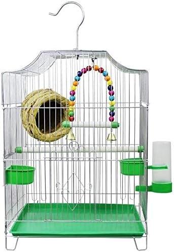 AYCPG Jaula de pájaros Pet Home-Style Pájaro económico La Jaula Viene con 2 tazones de alimentación y 1 Fuente de Mascotas para Beber lucar