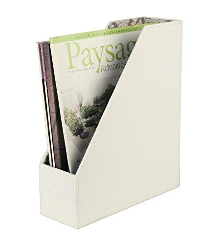 Ms.Box PU Leather Magazine Document Holder Organizer, White, 10 x 3.6 x 12 inches Faux Leather Magazine Rack