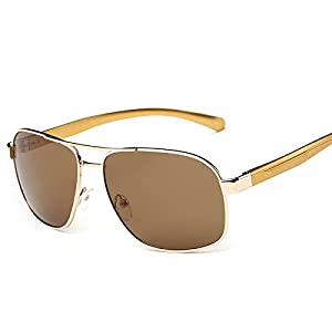 Gold Frame Brown Polarized Men'S Retro Aviator Metal Frame Sunglasses Outdoor Eyewear Eye Glasses