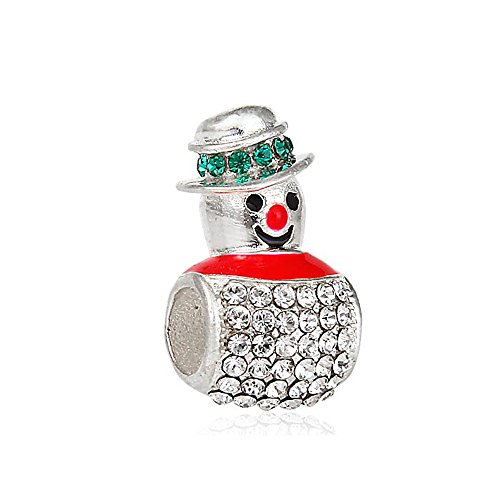 Everbling Christmas Magical Snowman with Colorful Austrian Crystal 925 Sterling Silver Bead Fits European Charm Bracelet