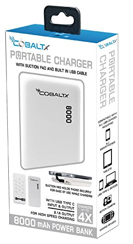 COBALTX 8000 Mah External Battery Power Bank Battery Backup Built-In USB Cable Charger Battery Portable Power Pack High Speed Fast Charging External Charger for iPhone, Android, Smartphones, Tablets -  PB1800